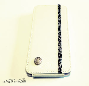 White Leather Samsung Galaxy S5 Case with silver-black Swarovski , Cell Phone Case , Cango&Rinaldi , Chic & Radiant Webstore