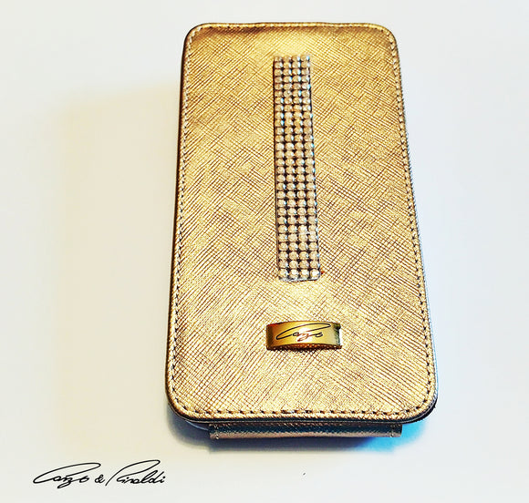 Gold Leather Samsung Galaxy S4 Case with gold Swarovski , Cell Phone Case , Cango&Rinaldi , Chic & Radiant Webstore