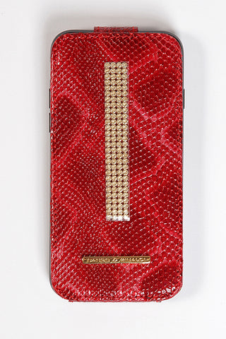 Red Croco Leather iPhone 7 Case with gold Swarovski