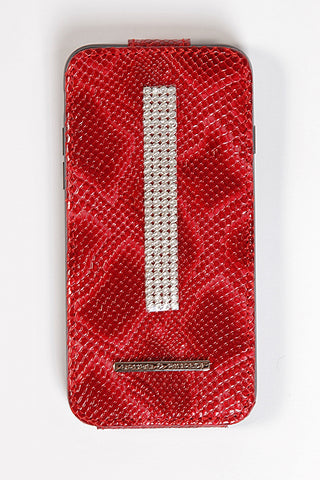 Red Croco Leather iPhone 7 Case with silver Swarovski
