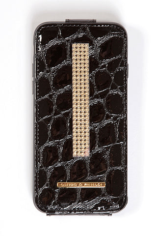 Black Charol Croco Leather iPhone 7 Case with gold Swarovski