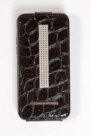 Black Charol Croco Leather iPhone 7 Case with silver Swarovski