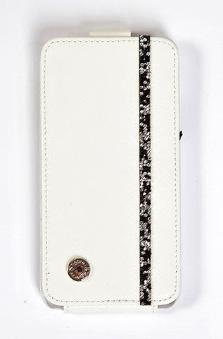 Prada White Leather Samsung Galaxy S5 Case with silver-black Swarovski
