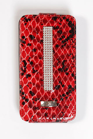Red-Black Croco Leather Samsung Galaxy S4 Case with silver Swarovski