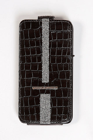 Black Croco Leather Samsung Galaxy S5 Case with silver Swarovski