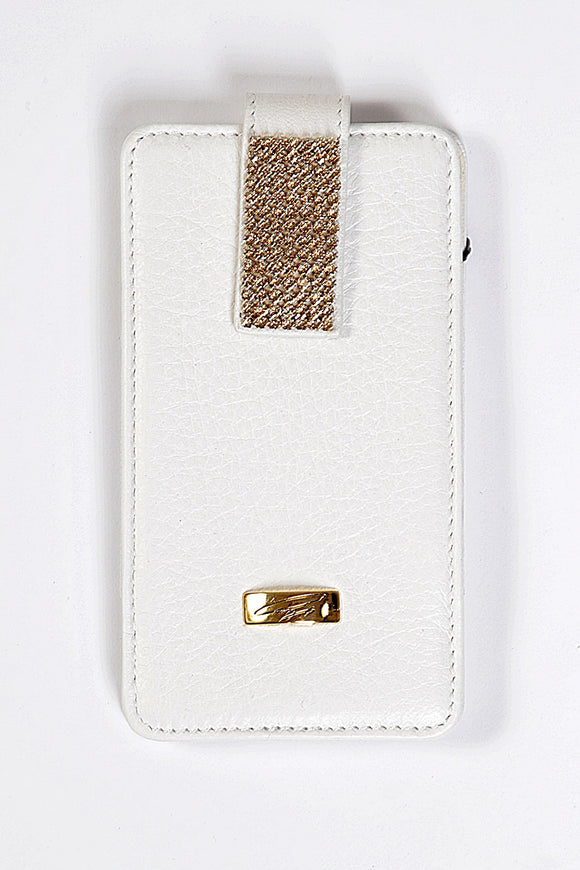 White Leather Universal Phone Case with gold Swarovski , Cell Phone Case , Cango&Rinaldi , Chic & Radiant Webstore