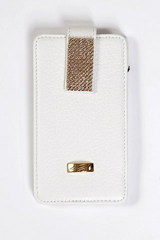 White Leather Universal Phone Case with gold Swarovski
