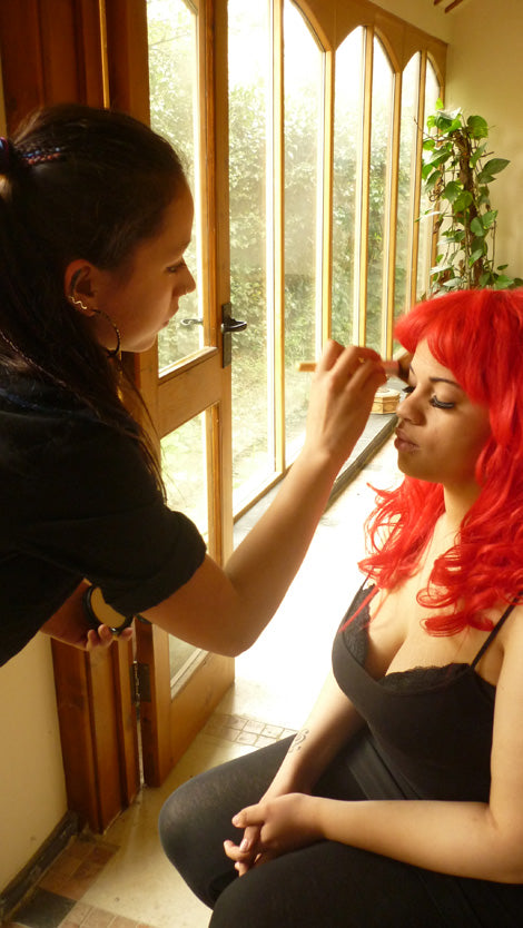Abbi having a touch up before her first shoot of the day
