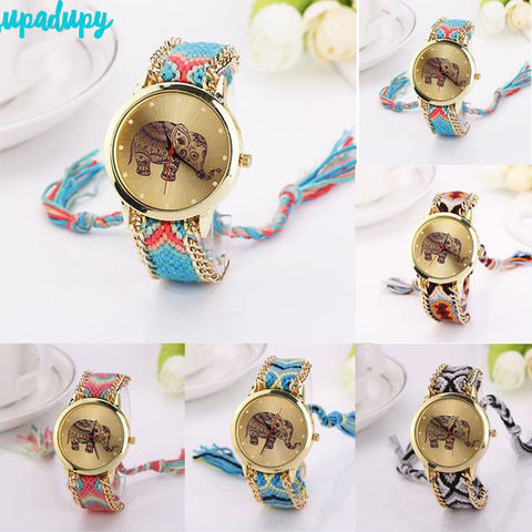 Gold Colorful Elephant Gipsy Watch
