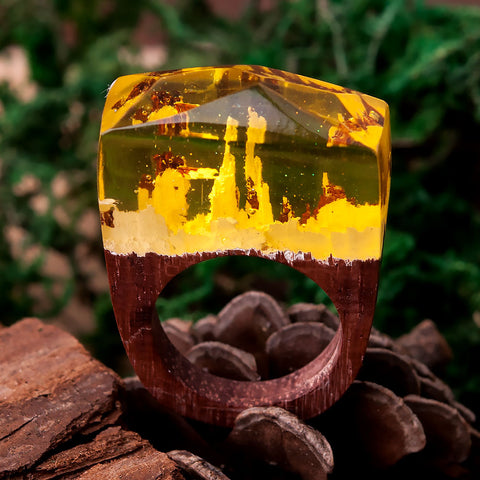 Celestial Wooden Resin RING