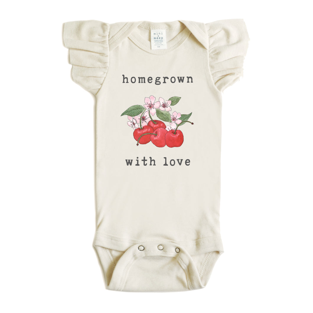 Homegrown with Love® (Cherries Edition) | Organic Unbleached Flutter Sleeved Snappie