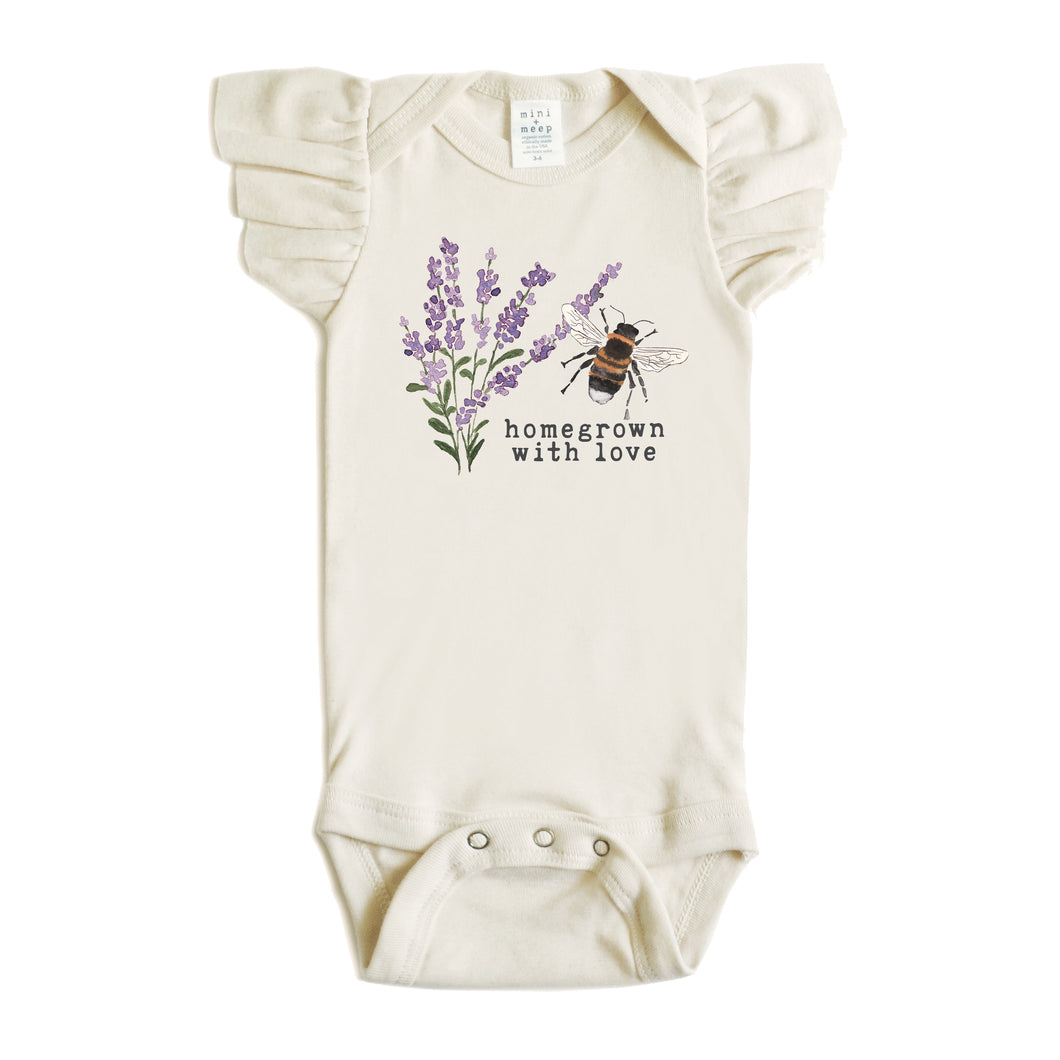 Homegrown with Love® (Bee Edition) | Organic Unbleached Flutter Sleeved Snappie