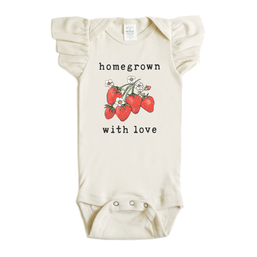 Homegrown with Love™ (Strawberry Edition) | Organic Unbleached Flutter Sleeved Snappie