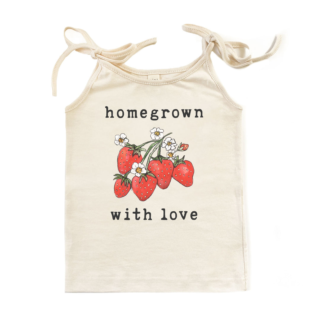 Homegrown with Love™ (Strawberry Edition) | Organic Unbleached Tie Tank