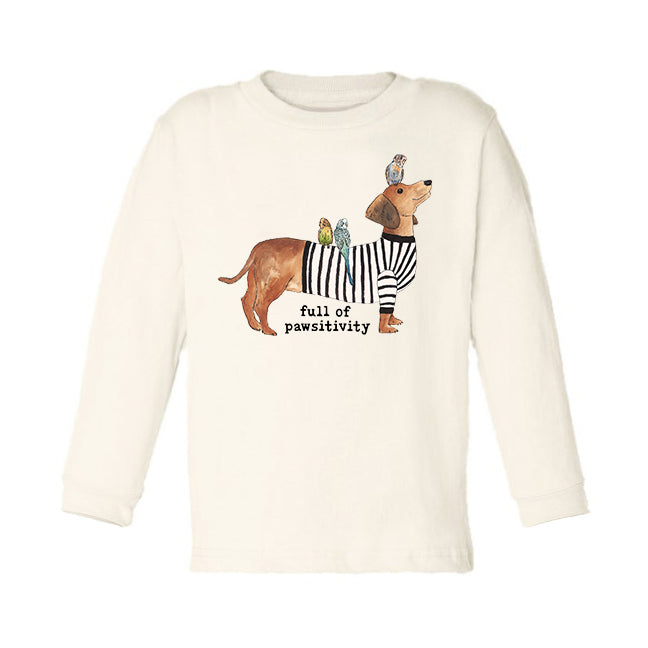 Full of Pawsitivity | Organic Unbleached Toddler Tee, Long Sleeve