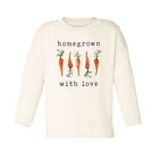"Organic ""Homegrown with Love"" Carrot Edition Unbleached Toddler Tee, Long Sleeve"