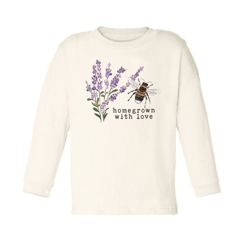 Homegrown with Love (Bee Edition) | Unbleached Toddler Tee, Long Sleeve