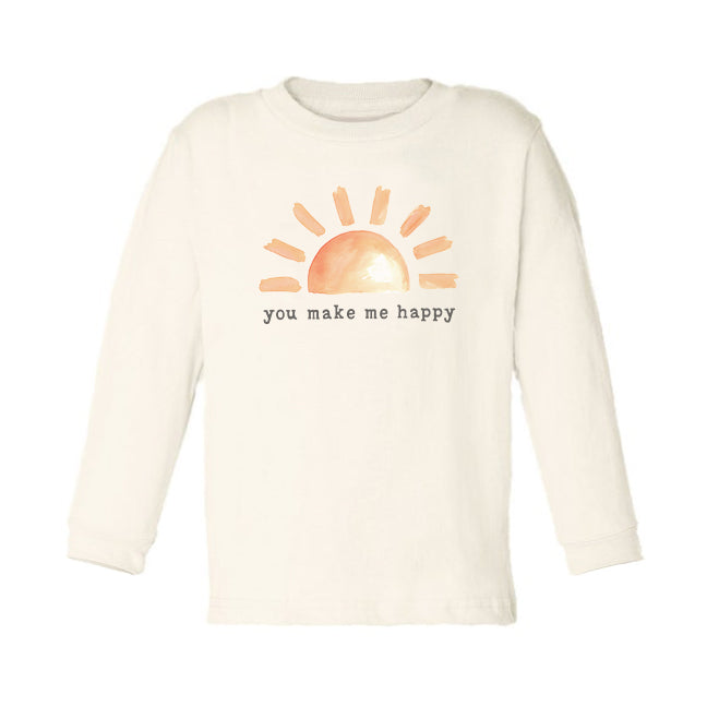 You Make Me Happy | Organic Unbleached Toddler Tee, Long Sleeve