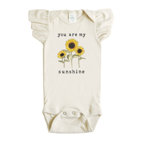 You Are My Sunshine | Organic Unbleached Flutter Sleeved Snappie