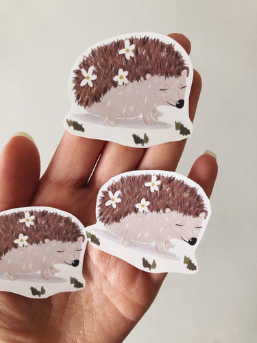 Hedgehog Floral Sticker