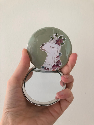 Llama Head Pocket Mirror