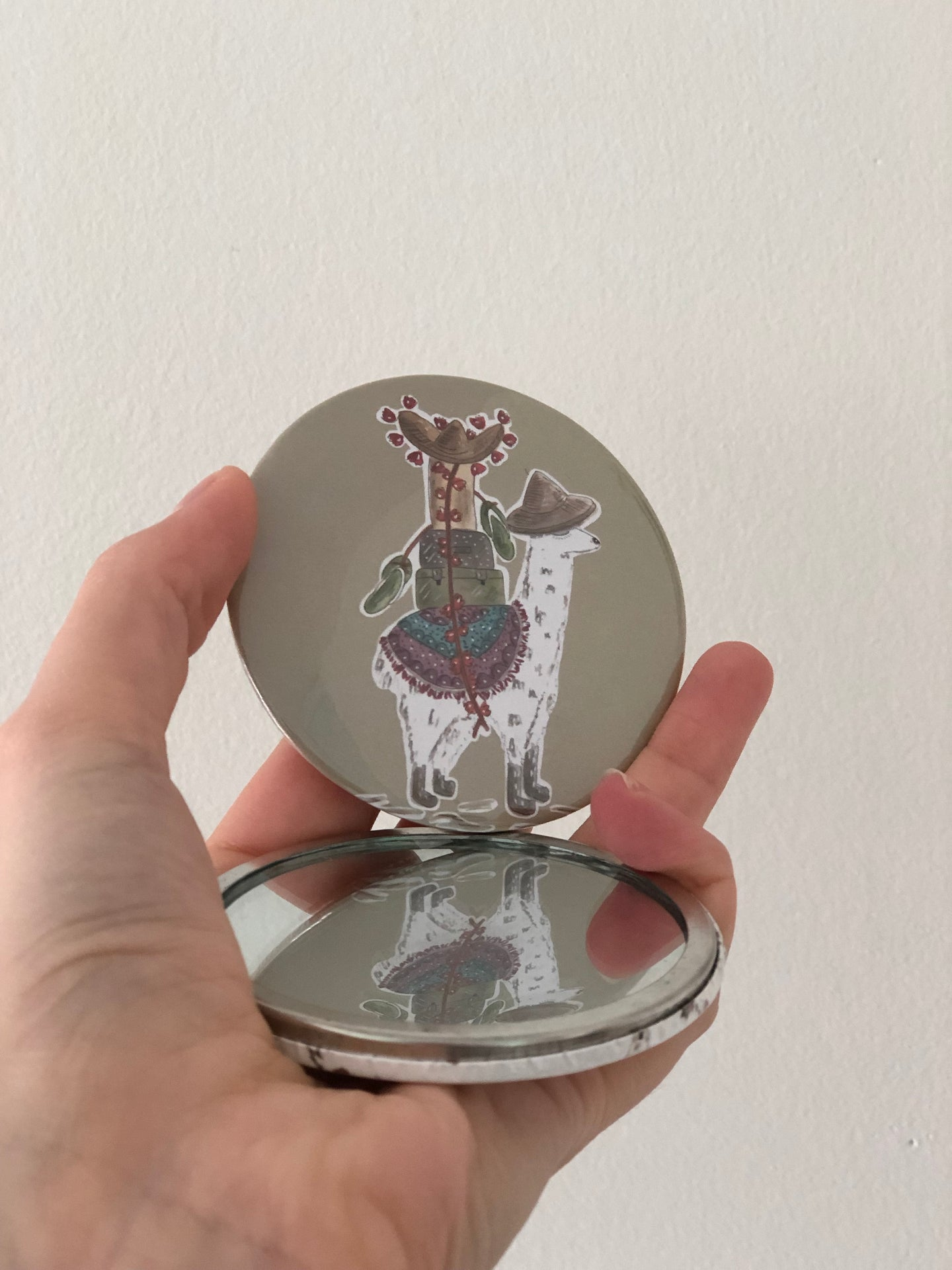 Travelling Llama Pocket Mirror