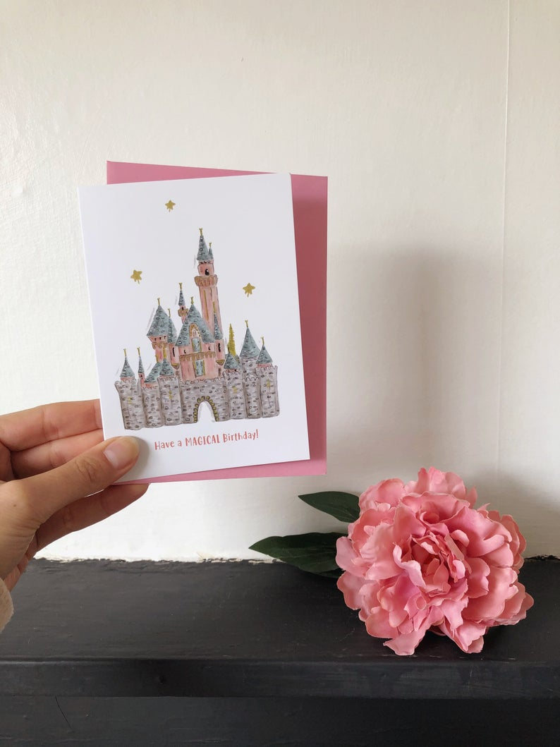 Pink Magical Castle Birthday Card