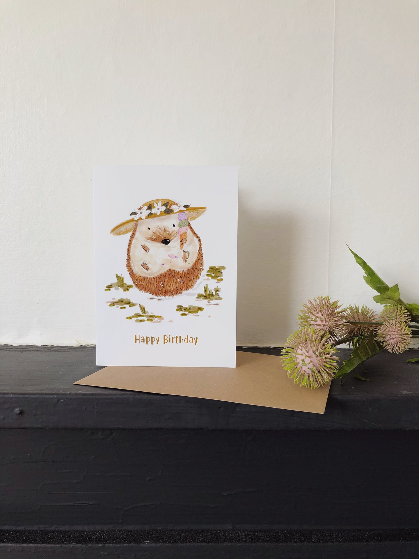 Hedgehog with Ice Cream Card