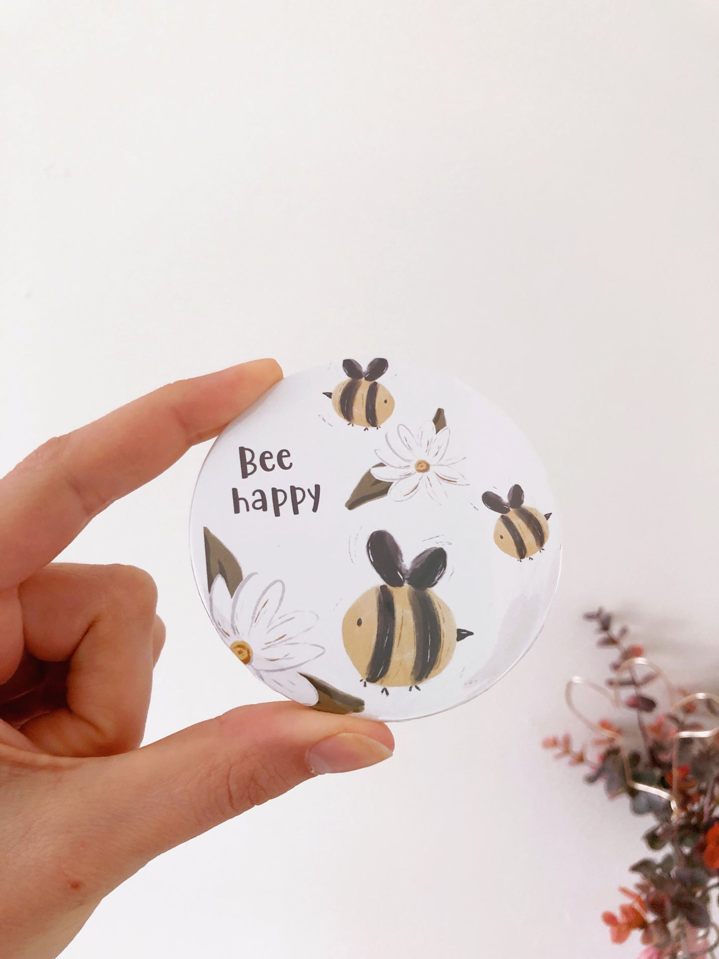 Bee Happy Bee Pocket Mirror