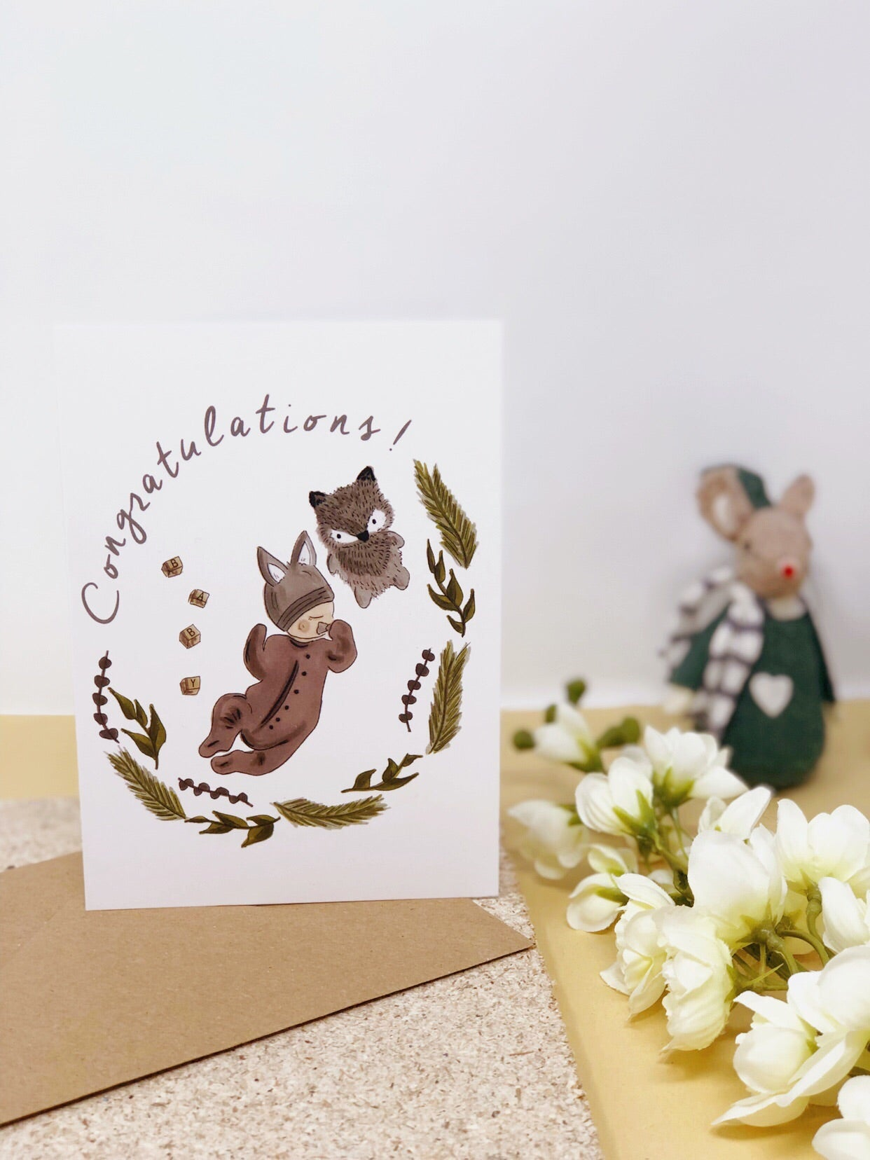 Wolf Baby New Baby Card