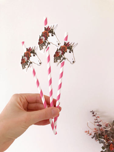 unicorn paper straws