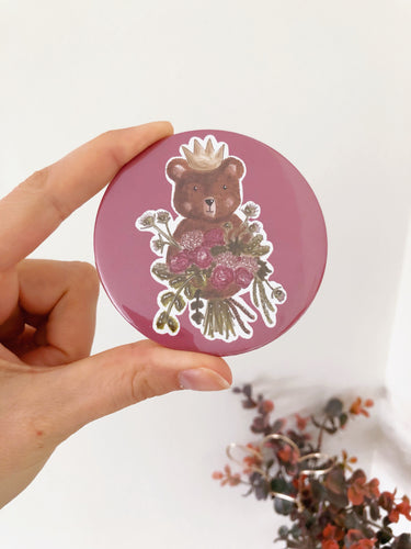 Bear Floral Bouquet Pocket Mirror