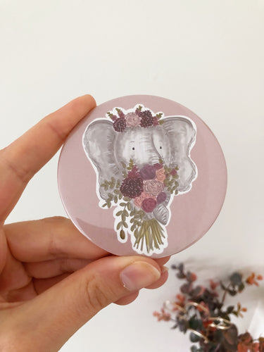 Elephant Floral Bouquet Pocket Mirror