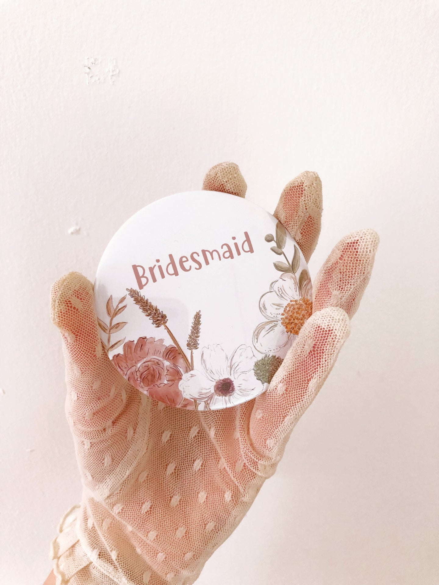 Floral Bridesmaid Pocket Mirror