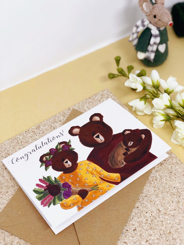 bear family new baby card