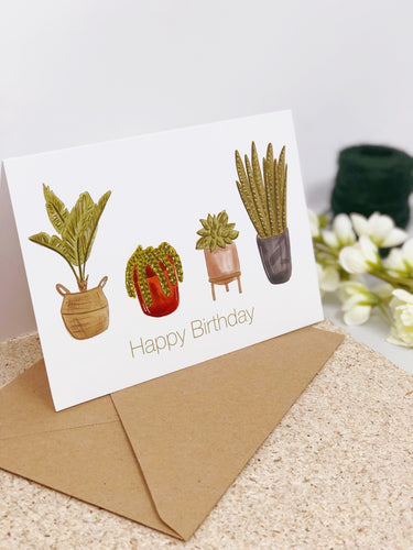 Plant Pots Birthday Card
