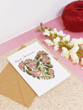 Pink Floral Heart Anniversary Card