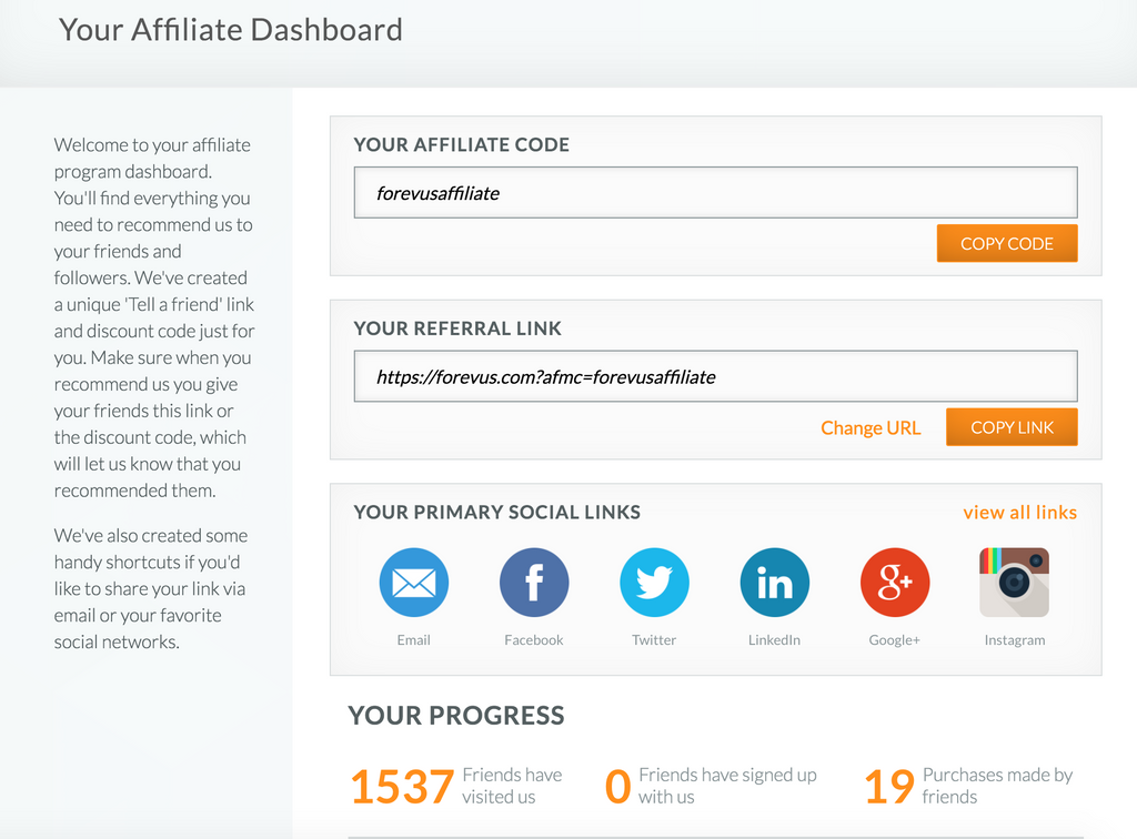 affiliate dashboard introduction