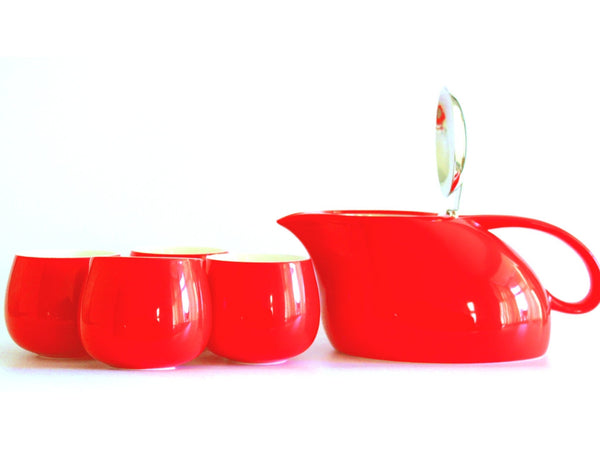 Modern Red Luxury Teapot and 4 cup Set