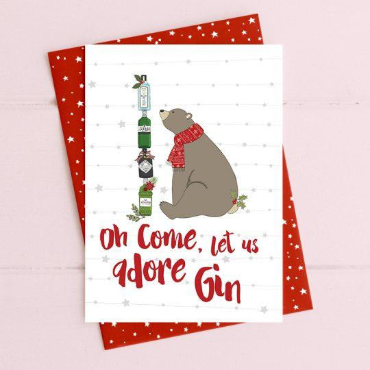 Oh Come let us adore Gin Greetings Card