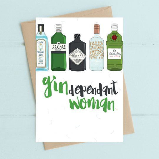 Gindependent Woman Greetings Card