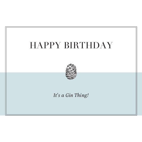 Happy Gin Birthday Card - Blue