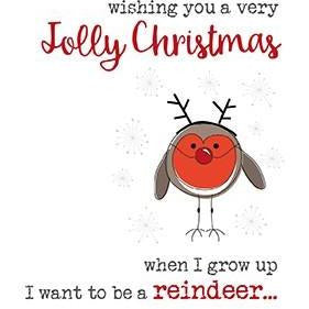 Robin Reindeer Jolly Christmas Greetings Card