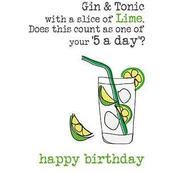 Gin & Tonic with a slice of lime Greetings Card