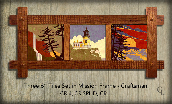 "Ceramic Tiles-Three 6"" Tiles in Mission Frame"
