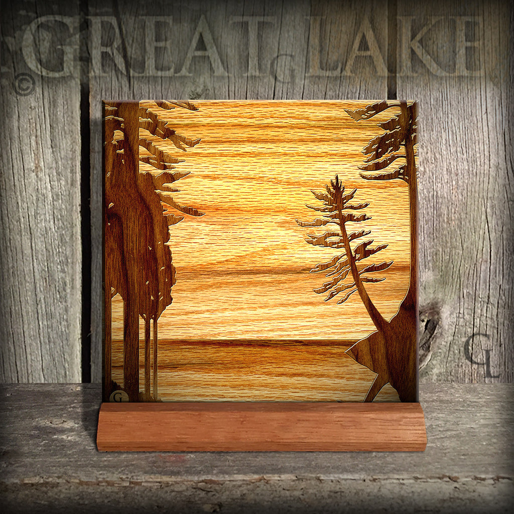 6 ceramic tiles wood inlay series great lakes gifts gallery 6 ceramic tiles wood inlay series dailygadgetfo Images