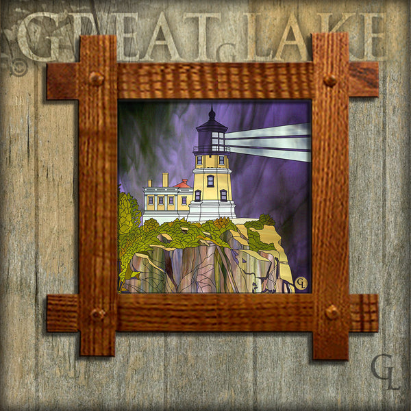 6 Inch Ceramic Tiles in Mission Frames - Stained Glass