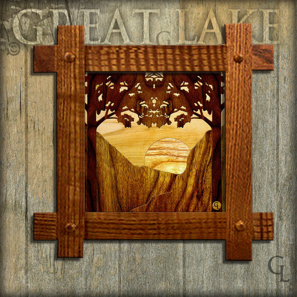 6 Inch Ceramic Tiles in Mission Frames - Wood Inlay
