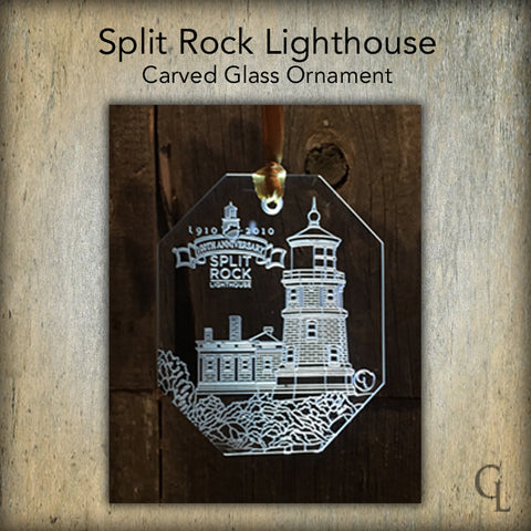 Split Rock Carved Glass Ornament