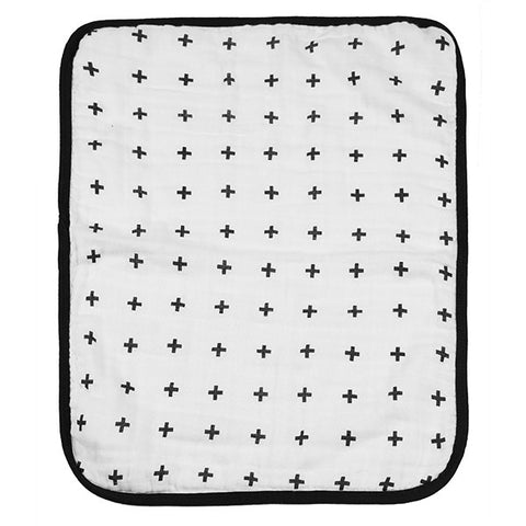 4-Layer Organic Cotton Muslin Burp Cloth - REVERSIBLE Swiss Cross + XO